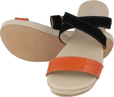 Elegante Moda Women Black, Orange Wedges