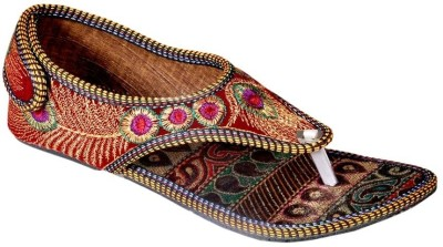 Ridhi Sidhi Gorgeous Hand Embroidered Red Colored Women Multicolor Flats