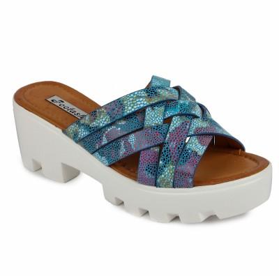 FOOTASH Women Blue Wedges
