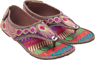 Myra Pair Of Multicolored Embroidered Sandals Women Multicolor Flats