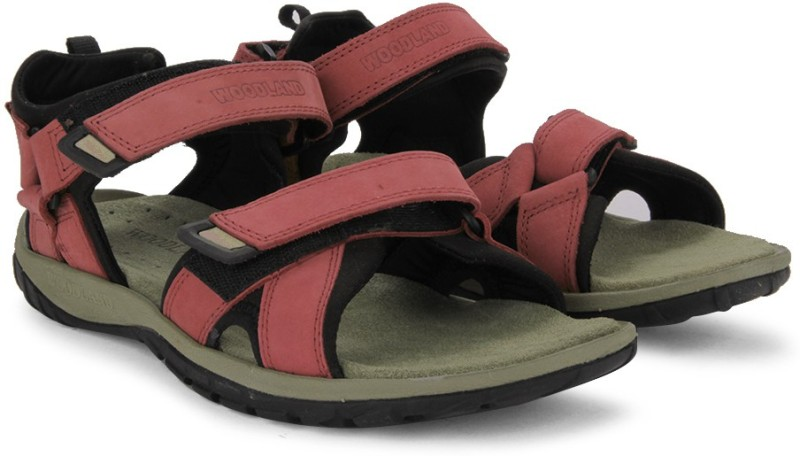 Woodland Black Red Sports Sandals