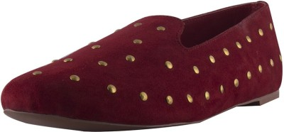 Devika Bharadwaj Women Red, Gold Flats