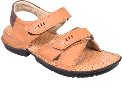 Leather Wood Men Tan Sandals
