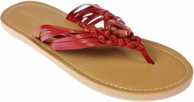 Tangerine Toes Stone Braid Women Red Flats