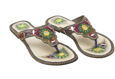 Ridhi Sidhi Mirror Work And Embroidered Women Multicolor Flats