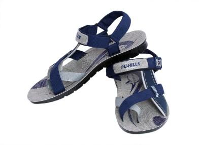Pu Hills Boys Blue, Grey Sandals