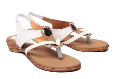 Laila Collection Women White Wedges