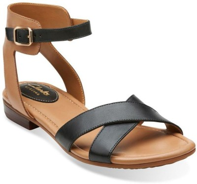 Clarks Viveca Zeal Black Leather Women Sports Sandals
