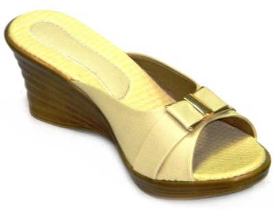 BellaToes Cut Heel Women Beige Wedges