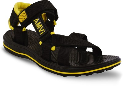 Amvi Boys Yellow, Black Sports Sandals