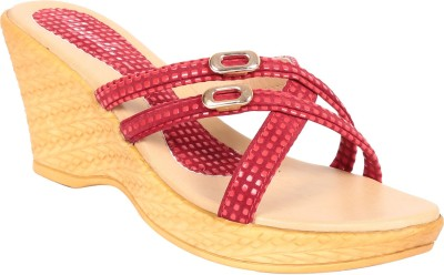 Adorn Elegant and trendy Women Red Wedges