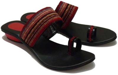 Indirang Women Red, Black Flats