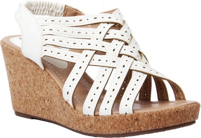 Foot Candy Women White Wedges