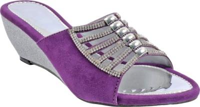 Bee Fashionable Girls Purple, Silver Wedges
