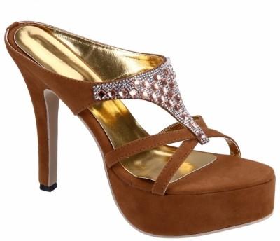 Soft & Sleek Light Cofee Stone Girls Brown Heels