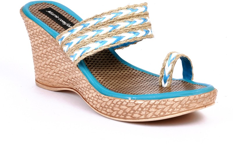 Marie Comfort JUTE Women Blue Wedges