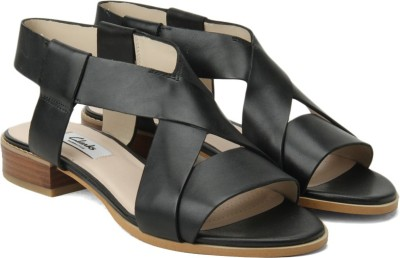 Clarks Bliss Meadow Black Leather Women Black Leather Sports Sandals