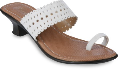 Pearls Punch Angutha Patti Women White Heels