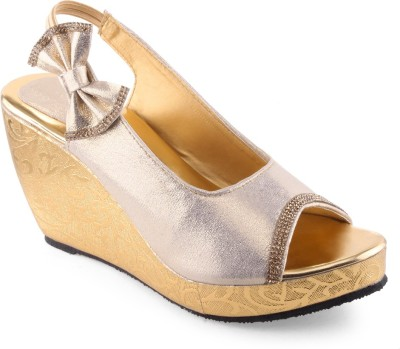 Shoe Lab Women Gold Wedges