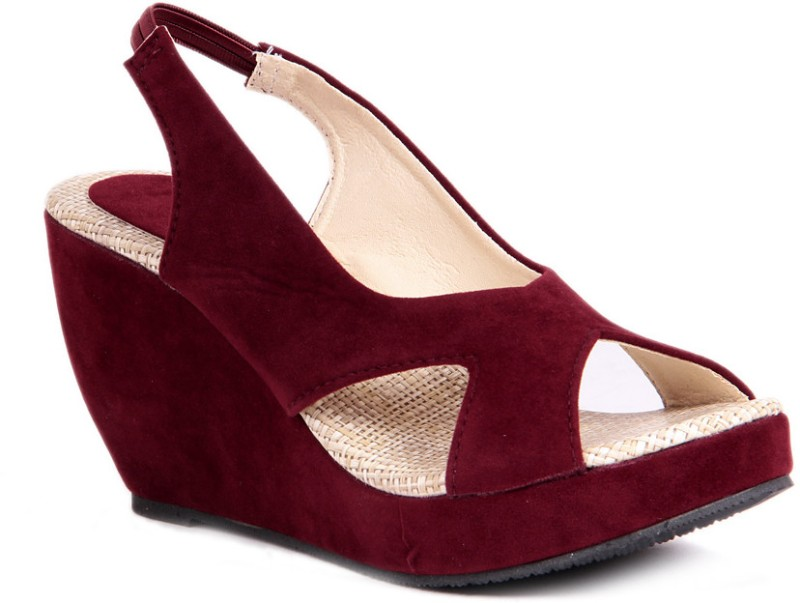 Sindhi Footwear Casual Women Maroon Wedges