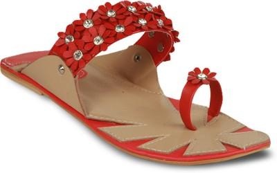 Studio 9 Flowery Stoned Kohlapuri Women Red Flats
