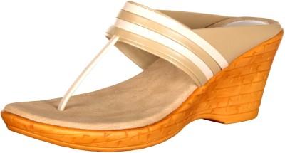 Foot Furnish Girls, Women White, Beige Wedges