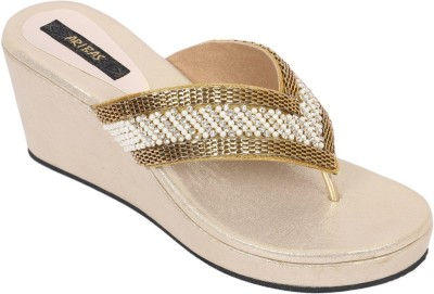 ARIBAS Women Gold Wedges
