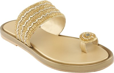 Shoe Bazar Women Gold Flats