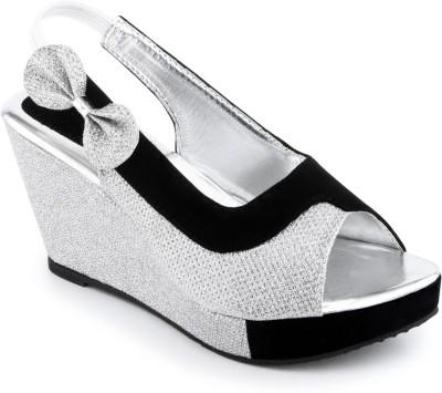 Shoe Lab Women Silver, Black Wedges