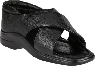 LeatherKraft Men Black Sandals