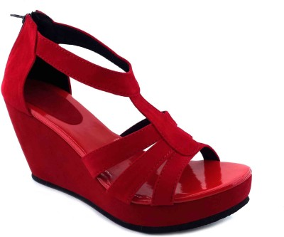 Plutos Women Red Wedges