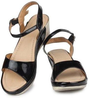 LILY Women Black Wedges