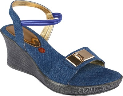 Shoe Bazar Women Blue Wedges