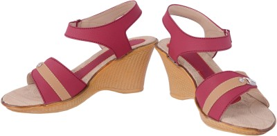 Olive Fashion Women Red Wedges