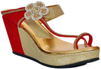 NE Shoes Women Gold, Red Wedges