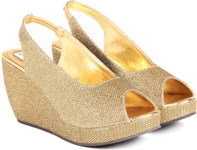 Do Bhai SH-GOLDEN-GOLDEN Women Gold Wedges