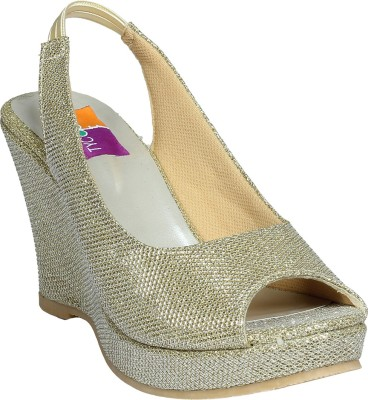 Tycoon Women Gold Wedges at flipkart
