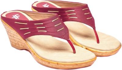 Foot Furnish Girls, Women Maroon, Gold, Beige Wedges
