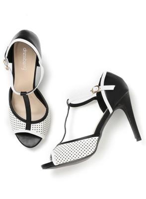 Dressberry Women White::Black Heels at flipkart