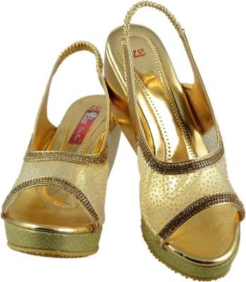 Olive Fashion Women Gold Wedges