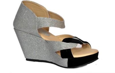 Stylish Step Women Black, Silver Wedges