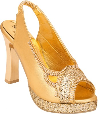 Solester Women Gold Heels