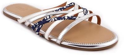 Zaera Women Blue, Silver Flats