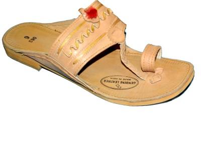 Kolapuri Center Chappal Jari Leather Sandals Men Tan Sandals