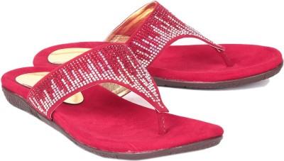 Ruby Swarovski Women Red Flats