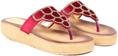 Ka Fashion Women Red Wedges