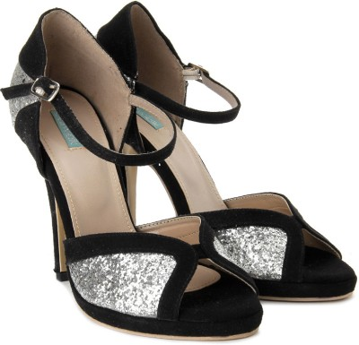 Catwalk Women Black, Silver Heels