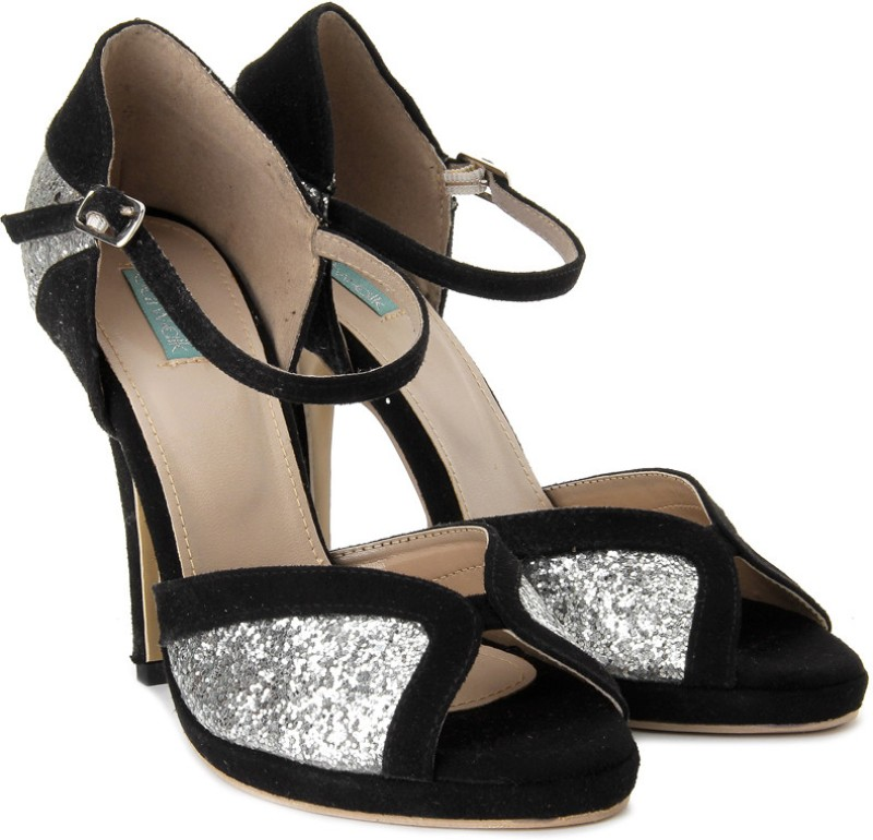 Catwalk Women Women Black, Silver Heels