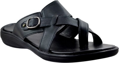 SUPREME LEATHER Men Black Sandals