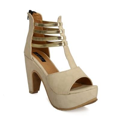 Funku Fashion Women Beige, Beige Heels